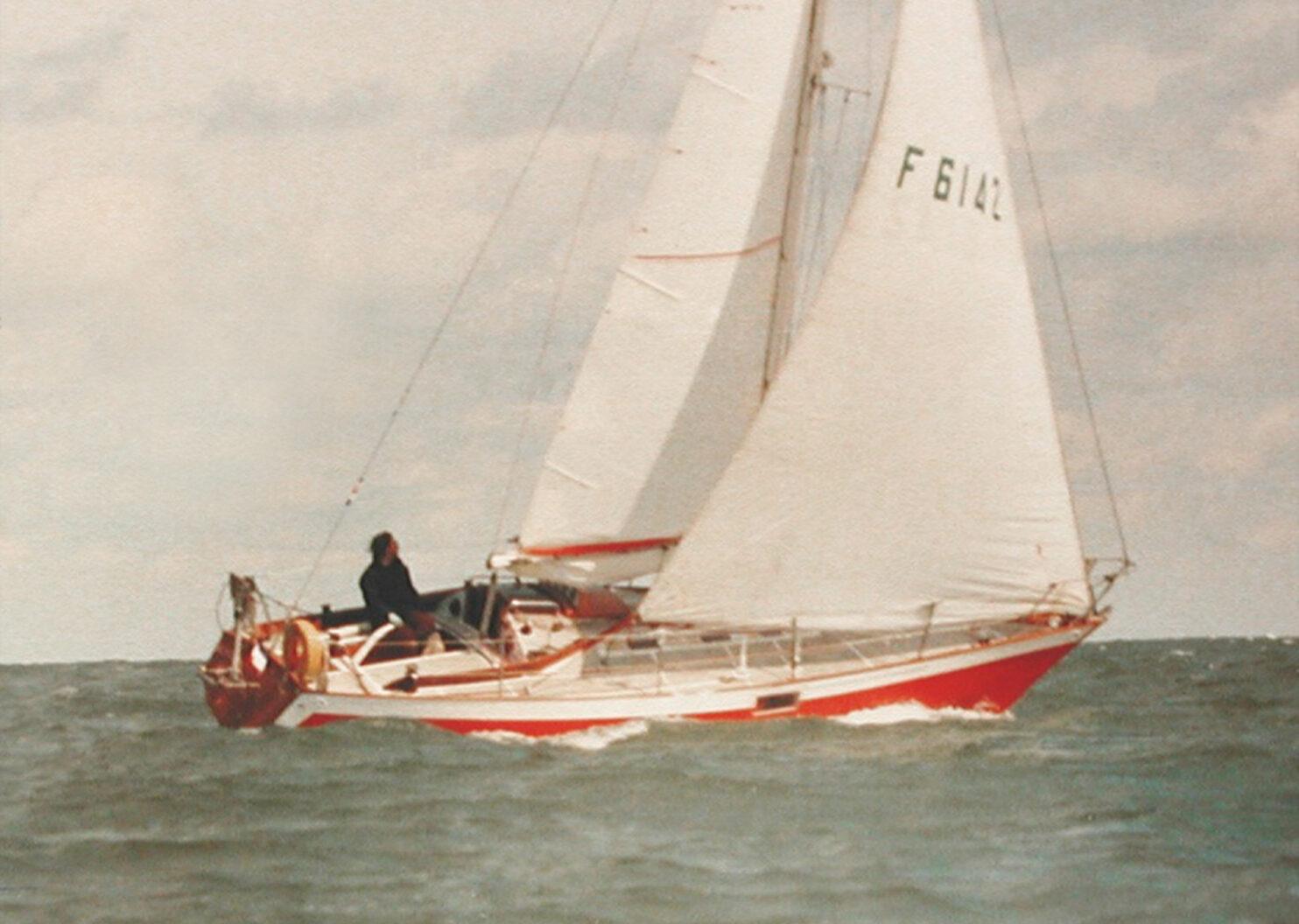 Benoît on his boat, Kilaourou, 1989.